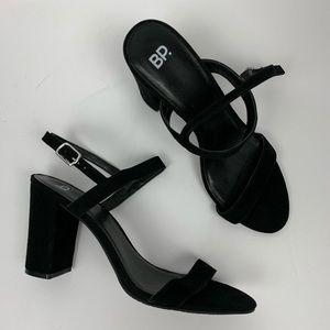 BP Lula Block Heel Open Toe Slingback Heel Black 9